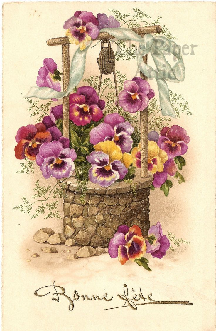 Pansy Flowers in Wishing Well Antique Vintage French Chromo Postcard | eBay Открытки с цветочными корзинками