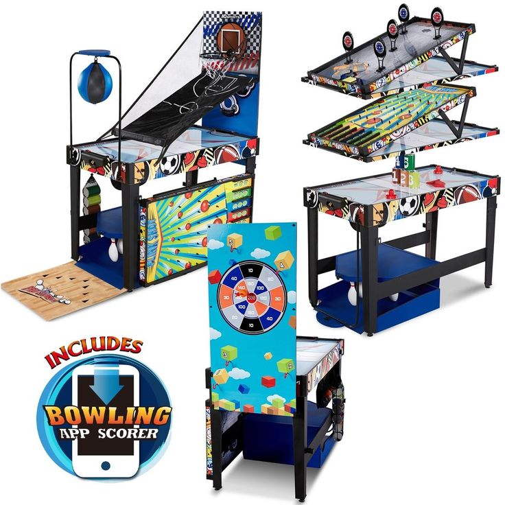 Kids Multi Game Table Games 48 Inch 12 In 1 Combo Air Powered Hockey  Basketball