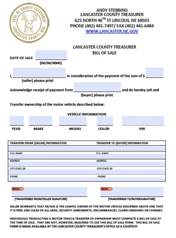 Blank Vehicle Bill Of Sale Check more at
