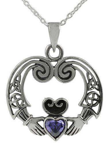 925 Sterling Silver Claddagh Irish Celtic Crown Heart Pendant Necklace Friendship Loyalty Jewellery 9XrfSjxAZ