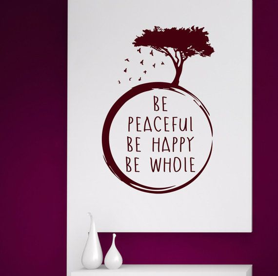 Be Peaceful. Be Happy. Be Whole with Tree and Birds. Art Yoga