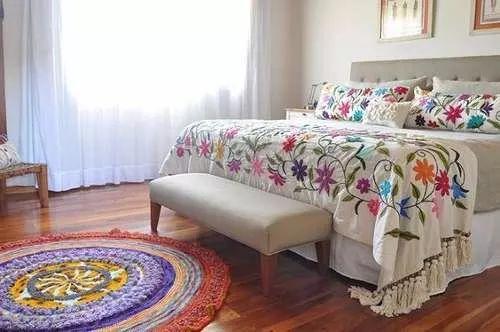 pie de cama bordado mexicano medida standard