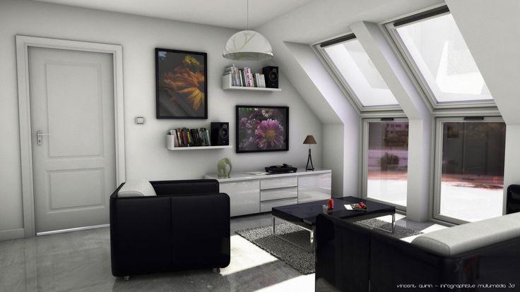 Modélisation d'un studio sous Cinema4d par Vincent Quirin, infographiste multimédia 3D à Sotteville lès Rouen