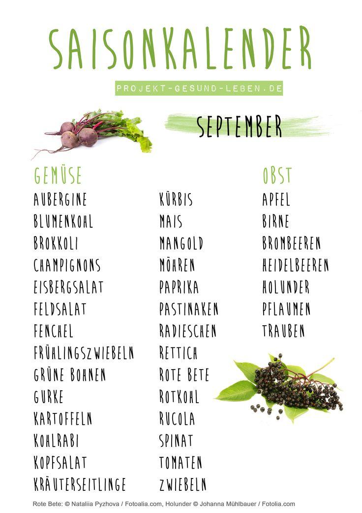 Saisonkalender September - Den praktischen PDF-Download findest du auf dem Blog! | Projekt: Gesund leben | Clean Eating, Fitness & Entspannung