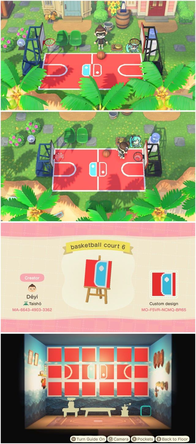 Share My Basketball Court Design 3x6 Compact Only 12 Design Slots Search By Creator Horizondesigns In 2020 Animal Crossing Animal Crossing Qr Animal Crossing Game