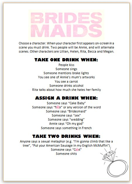 CELEBRATE & DECORATE: When the girls get together... Bridesmaids and Mean Girls drinking games!!