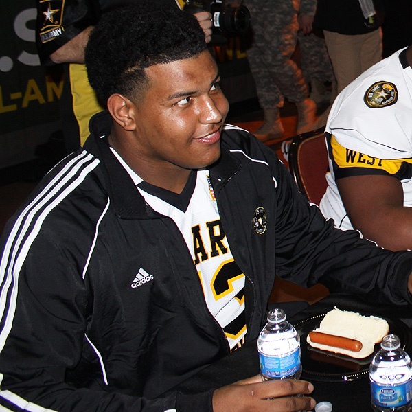 Future #USC #Trojans signee Zach Banner prepares for the eating contest during Army Bowl week.