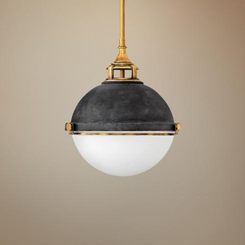 "Hinkley Fletcher 13 1/2"" Wide Aged Zinc Pendant Light"
