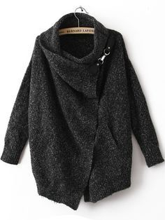 cardigan sweater, charcoal cardigan, black lapel long sleeve sweater, fall fashion - Crystalline
