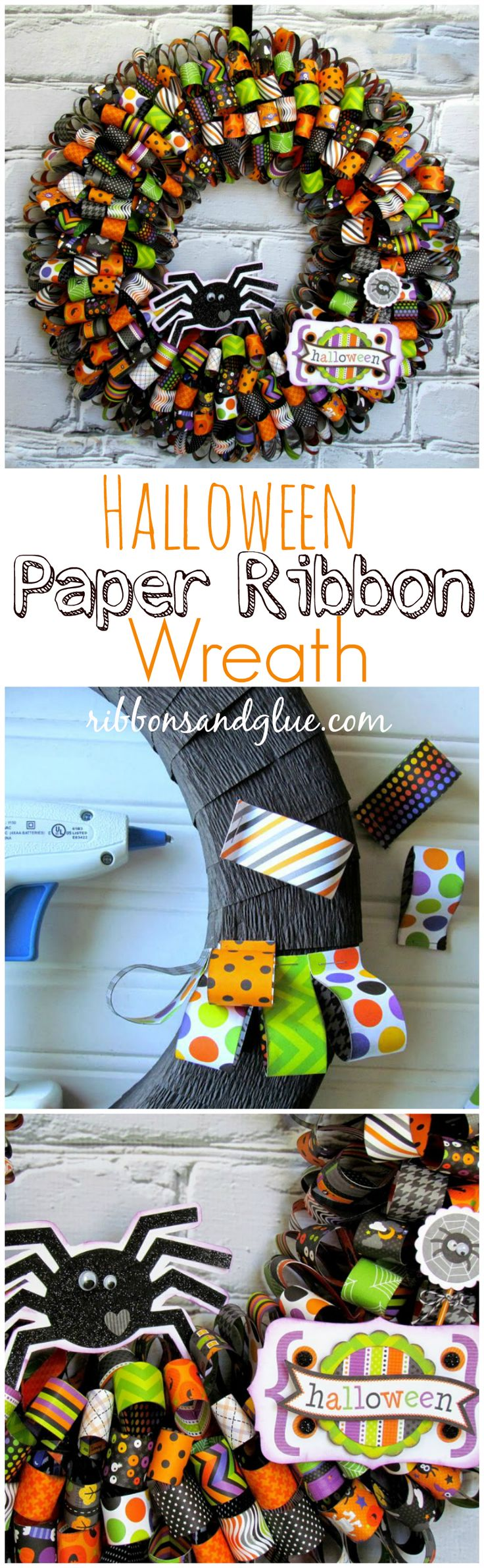 All you need to make this easy Halloween Paper Ribbon Wreath is Halloween paper…