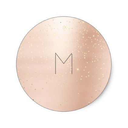 Pink Rose Gold Confetti Gray Round Monogram Classic Round Sticker - rose gold style stylish diy idea custom