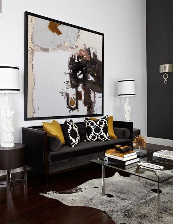 Extra Large Wall Art Abstract Painting Contemporary Art Black And White Painting Canvas Art Large Canvas Art Paintings On Canvas Art Black Living Room Gold Living Room Living Room Designs