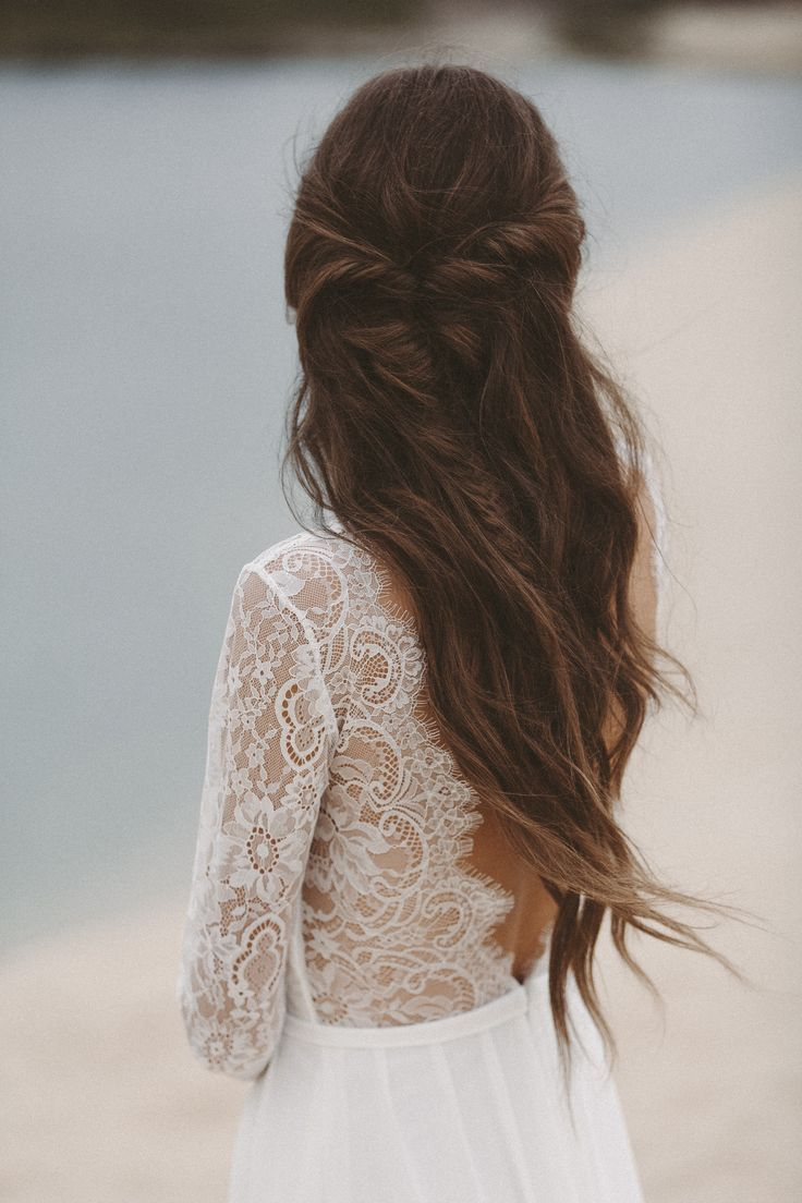 Wedding Dress With Long Lace Sleeves And Low Neckline Light Lace