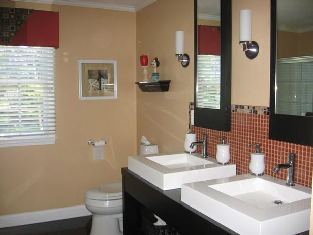 CATALDO TEEN BATHROOM, a guys bathroom rather color than neutral and blue instead of red tile and valance