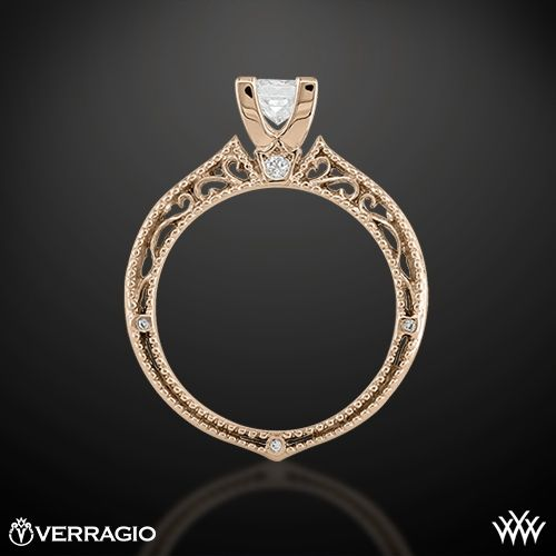 20k Rose Gold Verragio AFN-5001P-2 Scrolled Pave Diamond ...