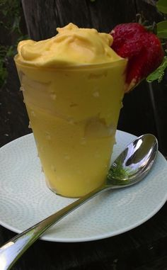 Mango soft serve! Just two ingredients and it taste like ice cream!!! Made it tonight, yummy