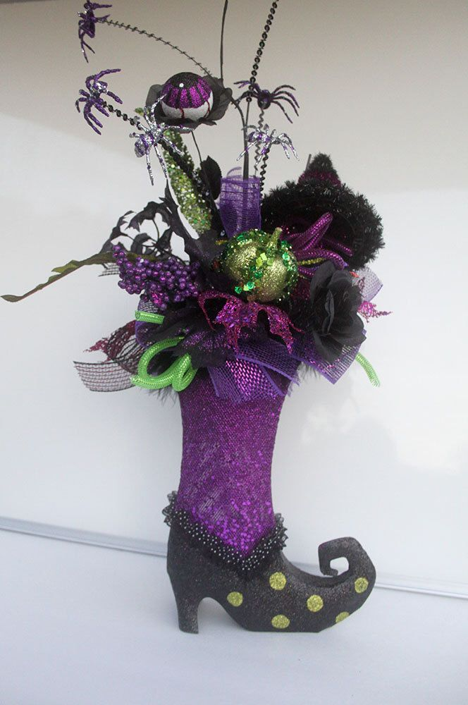 Halloween Arrangement,  Witch Boot arrangement, Halloween party decorations, Halloween decor, halloween table centerpiece, witches boot by Leopard on Etsy https://www.etsy.com/listing/248874038/halloween-arrangement-witch-boot