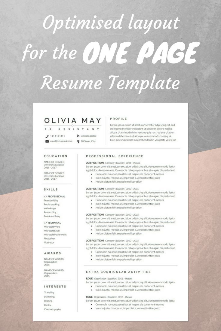 Best One Page Resume Template Images On   Resume