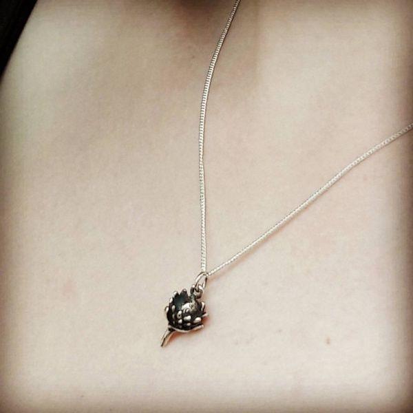 Small Sterling Silver Protea Pendant/Charm: R180.00