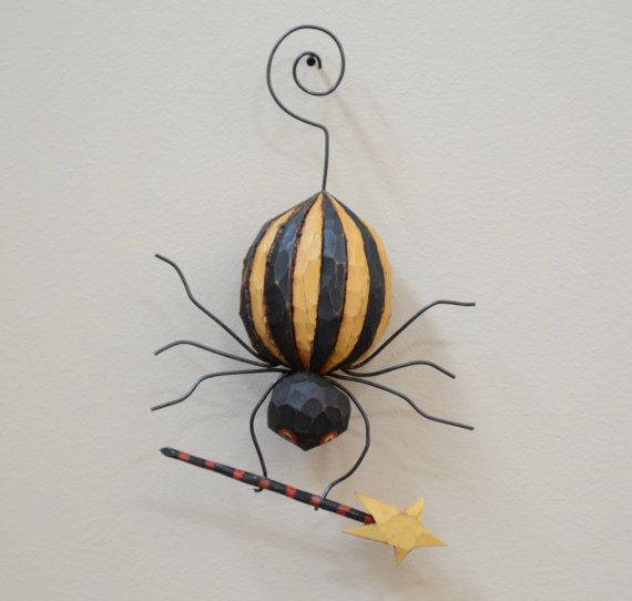 Spellbound Spider Primitive Folk Art Halloween by JoyHallFolkArt, $50.00