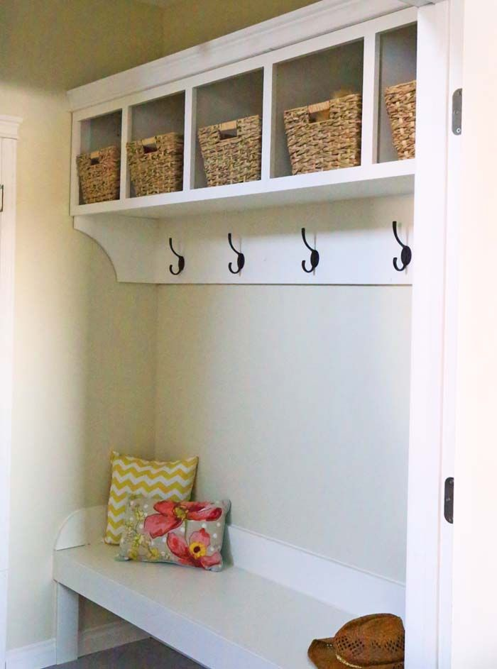 17 best images about narrow mudroom cubbies hooks and for Mudroom cubby plans
