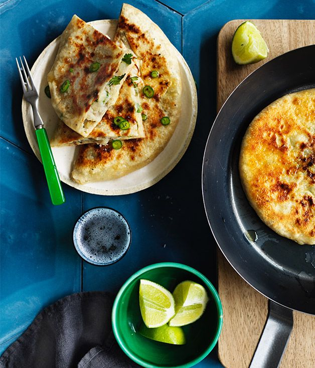 Look away if you're carb-averse - this potato-filled Indian flatbread is a carb-on-carb triumph. The unyeasted dough is quick to make, and the filling is full of spice. Little florets of roasted cauliflower would make a great addition, too.