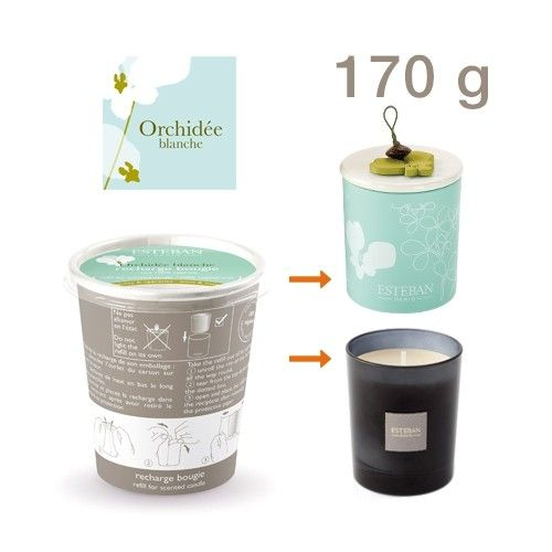 Orchidee Blanche replacement Esteban scented candle    The soft colors of orchids stand tones green water of this sailing of the French firm Esteban in a fresh and subtle perfume that perfectly evokes the delicacy of the orchid. A real delight!. Approx. 170 gr. Green floral perfume.    https://www.maisonparfum.com/en/scented-candles/1572-orchidee-blanche-replacement-esteban-scented-candle-3660963071157.html    #perfume #homefragrances #scentedcandles #parfum