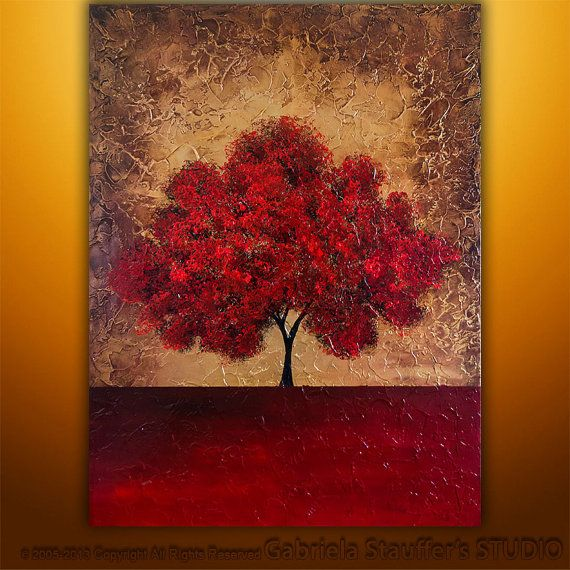 """Abstract Modern Original Textured Tree Art Painting by Gabriela 48""""x36"""" LARGE on Etsy, $379.00"""