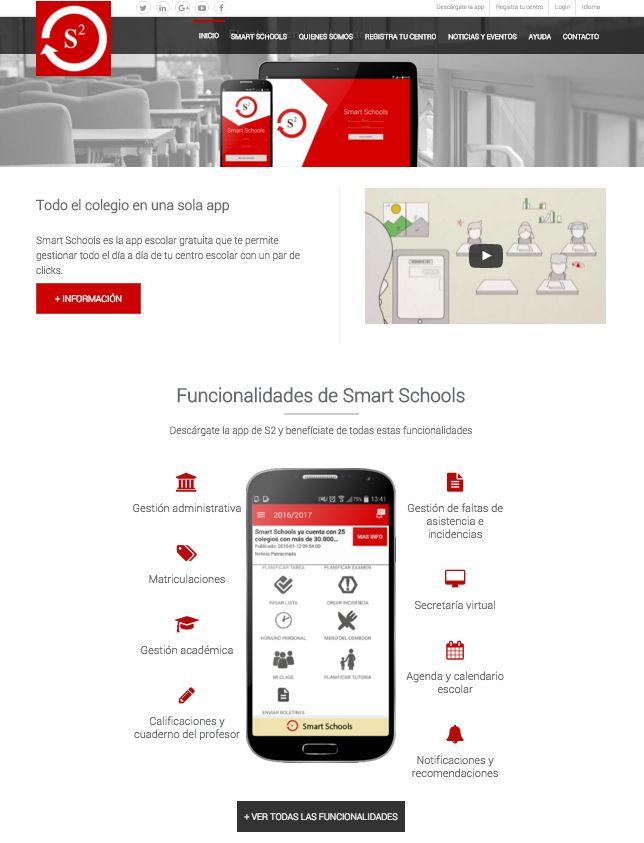 Diseño y desarrollo de la página web de la app Smart Schools  By Idearium 3.0 #diseñoweb #webdesign