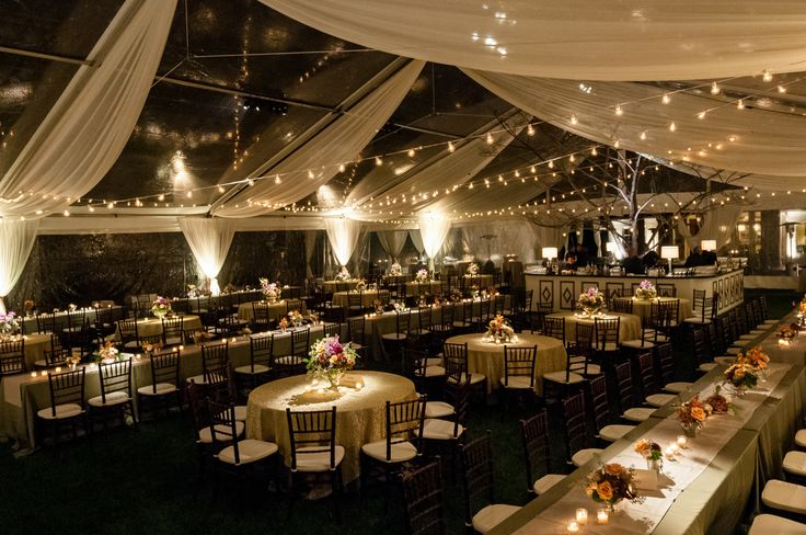 Clear Wedding Reception Tent with draping and bistro cafe lights