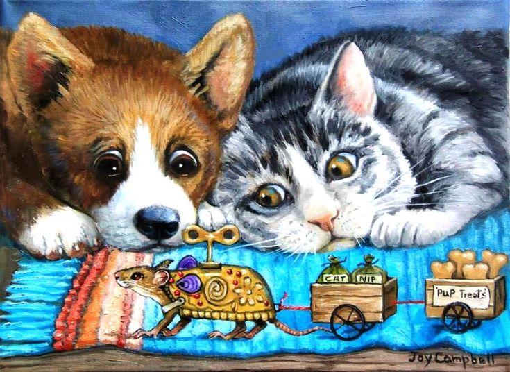Картинки кошка и собака для детей, открытки