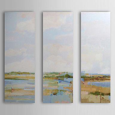 Landschaft/Abstrakte Landschaft Ölgemälde Handgemalte Leinwand Wall Art Andere Künstler Drei Paneele Fertig zum Aufhängen – EUR € 149.99