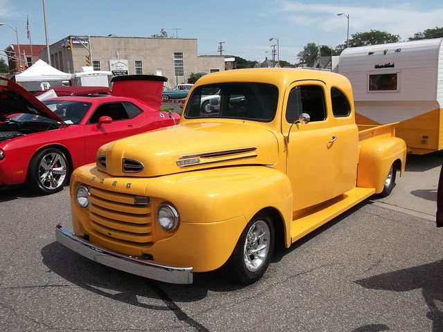 1949 Ford F1 truck, towing a 1962 West Wind camping trailer, by cjp02, via Flickr