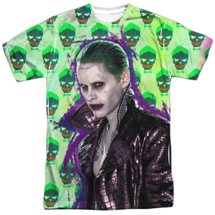 Suicide Squad Joker Jacket Skull Adult Tee - Front Print Only