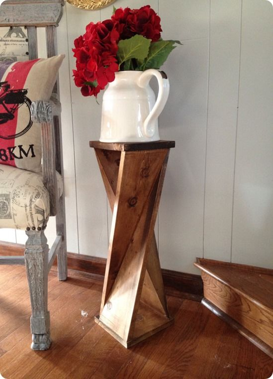 Wood Projects ~ Make this DIY twisted wood side table for around $6. It only…