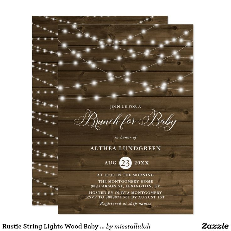 Rustic String Lights Wood Baby Shower Brunch Card Unique and whimsical baby shower brunch invitation featuring white string light on faux wood background. This fully customizable baby shower brunch invitation is perfect for country rustic, autumn and shabby chic themed baby showers.