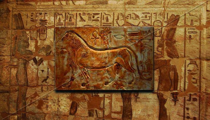 Egypt Lion / Mısır Aslanı '' 60×95 cm   Teknik: Rölyef / Eskitme Alçı -  Technique: Relief / Old Plaster ''
