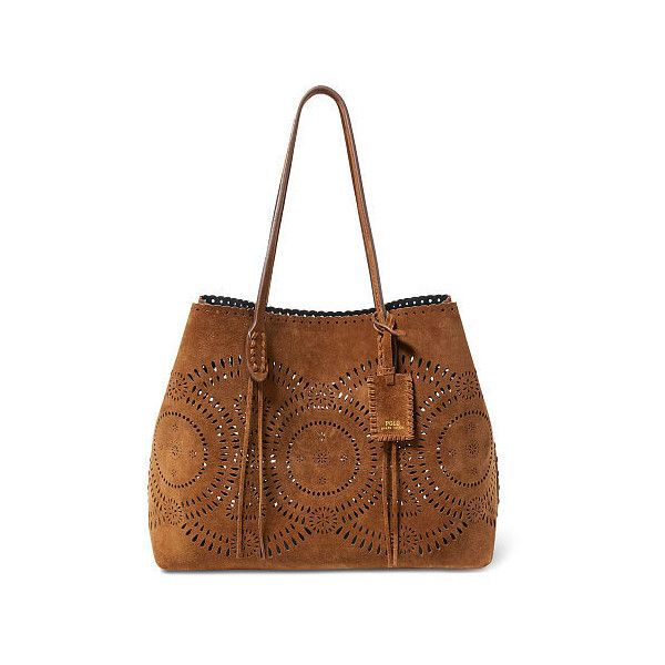 Polo Ralph Lauren Laser-Cut Suede Tote ($398) ❤ liked on Polyvore featuring bags, handbags, tote bags, ralph lauren handbags, handbag tote, laser cut tote, brown handbags and brown tote bags