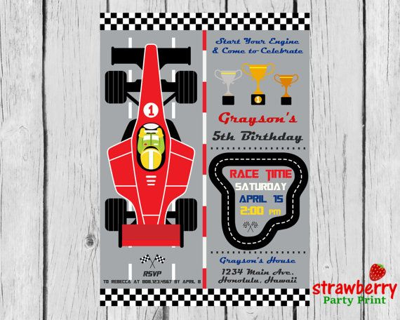 Race Car Birthday Invitation, Racing Formula 1 Boy Birthday, F1 Party Invite, Go Kart, Vintage Car, Digital Printable