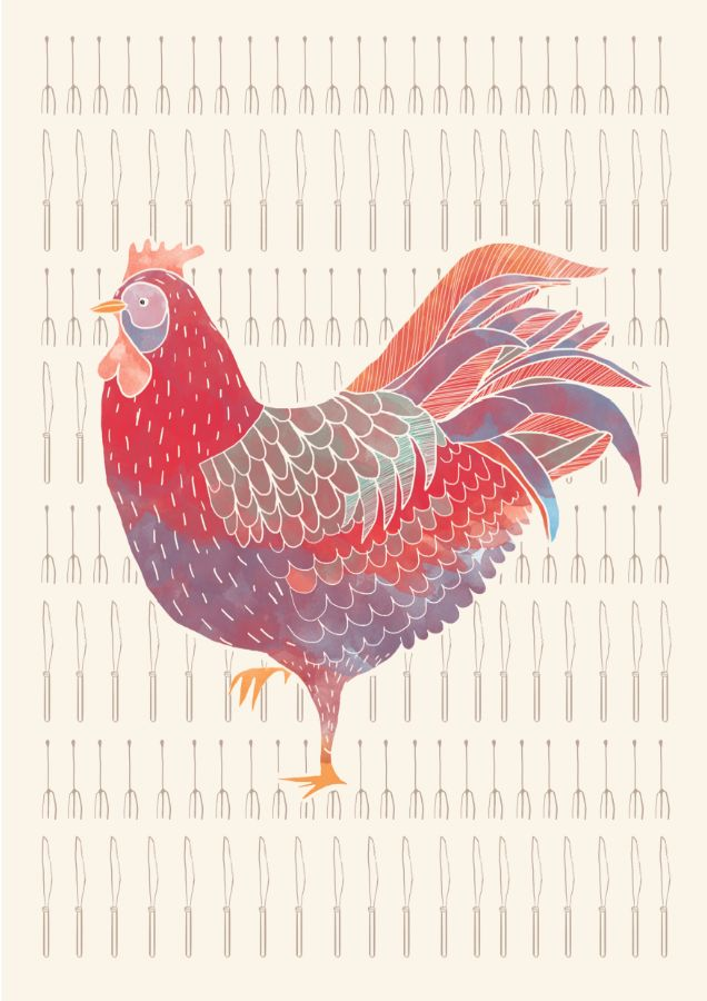 Hello Chicken! Studio Fifteen - Culinary Centre, Mumbai. Illustration by Svabhu Kohli