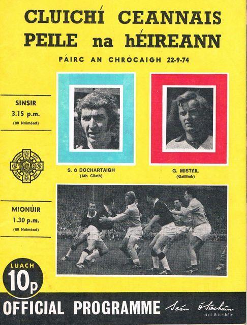 1974 All Ireland Final Dublin v Galway official programme