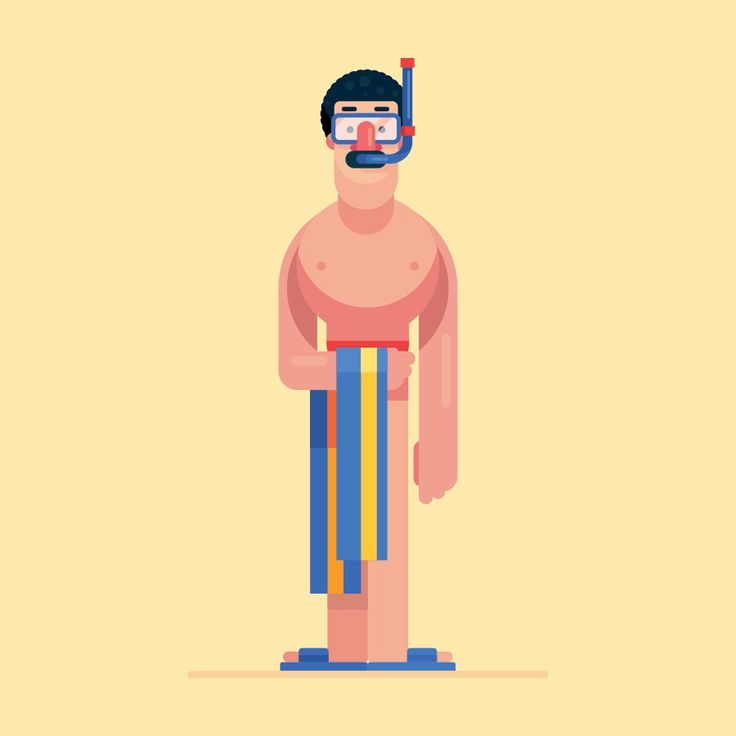 Flat Design Summer Character Illustration On The Beach in Adobe Illustrator cc 2019