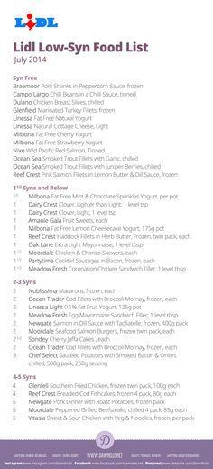 Lidl low syn food list