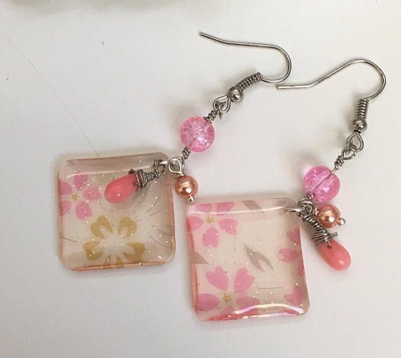 Cherry Blossom ear drops pink flower earrings Drop and