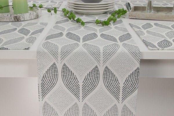 Abwaschbare Tischlaufer Cremeweiss Muster Grau Sorrent Breite 30 Cm Tischlaufer Cremeweiss Tisch
