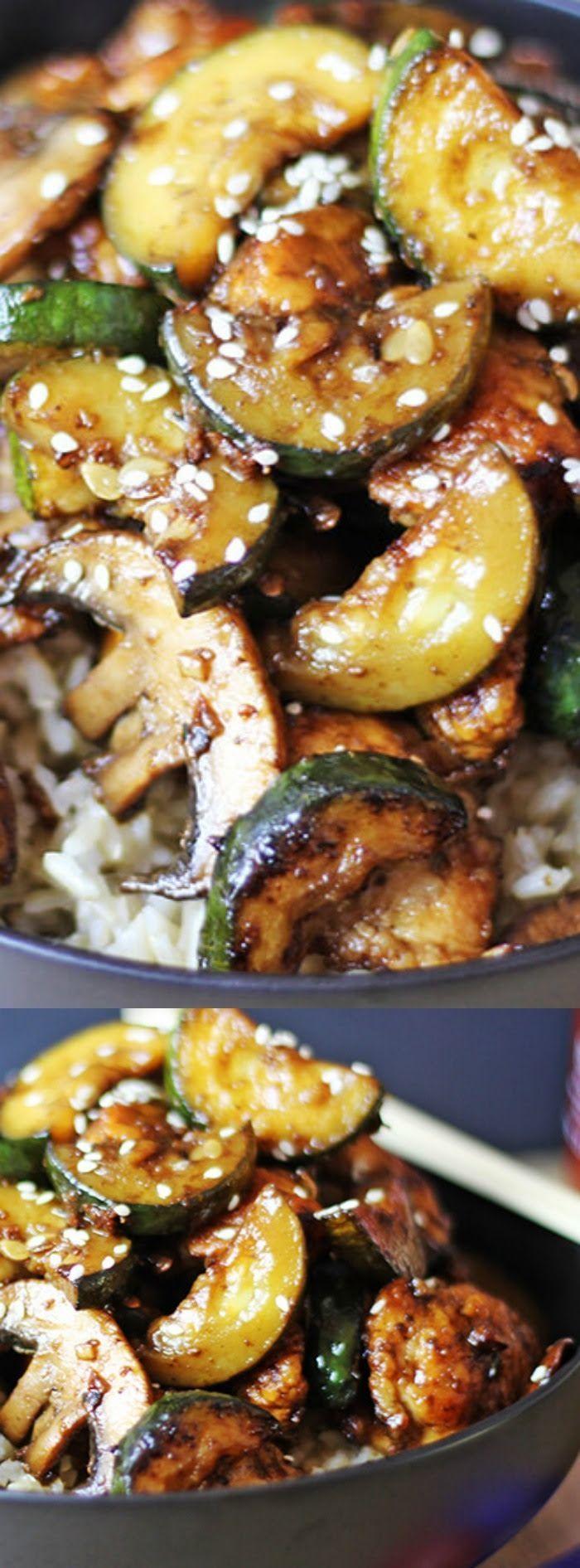zucchini mushroom chicken and rice