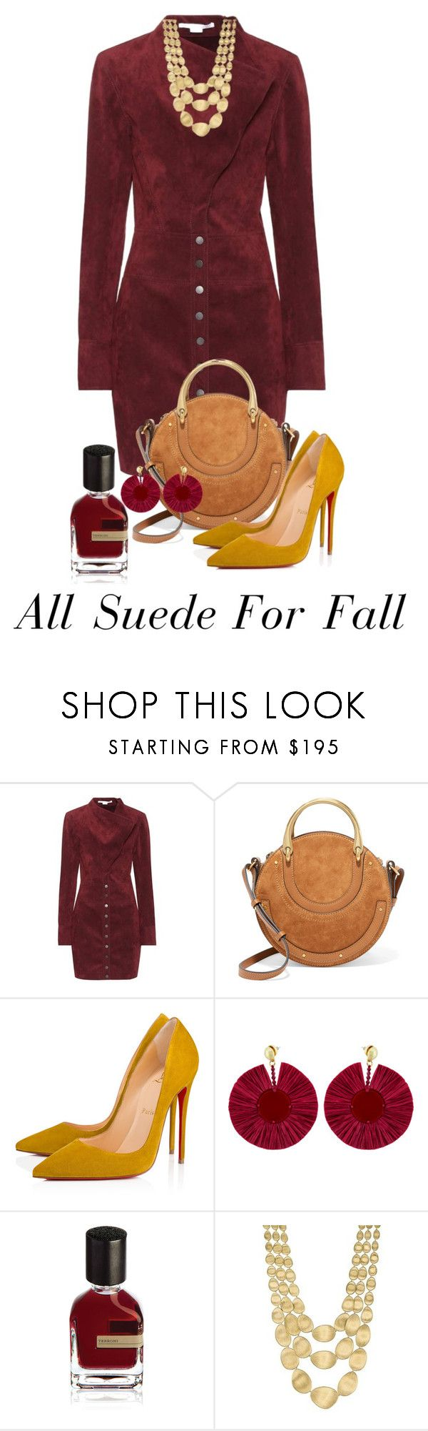 """Be Seduced By Suede"" by shamrockclover ❤ liked on Polyvore featuring STELLA McCARTNEY, Chloé, Christian Louboutin, Oscar de la Renta, Orto Parisi, Marco Bicego and suede"