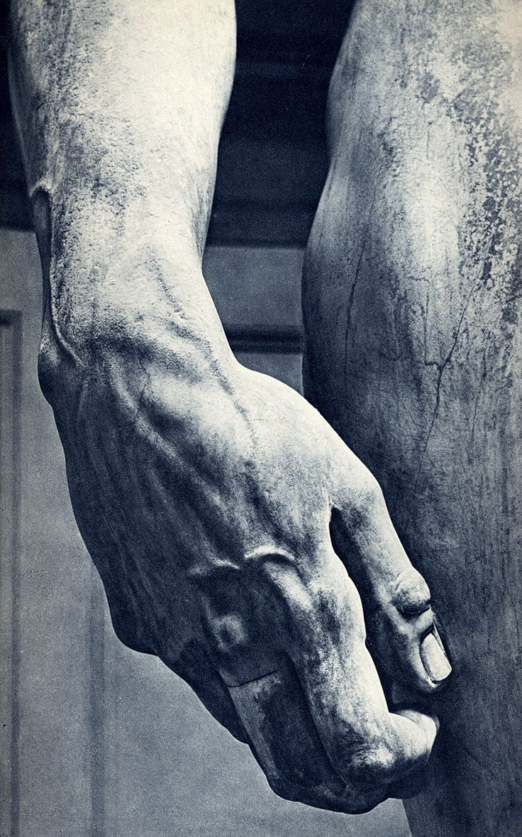 Michelangelo's David, hand detail. This photo was taken by Photo Tractatus. I love how it focused in on one spot of such a legendary art piece! It shows a great amount of detail that one wouldn't catch by all of the usual pics of the entire sculpture. Beautiful.