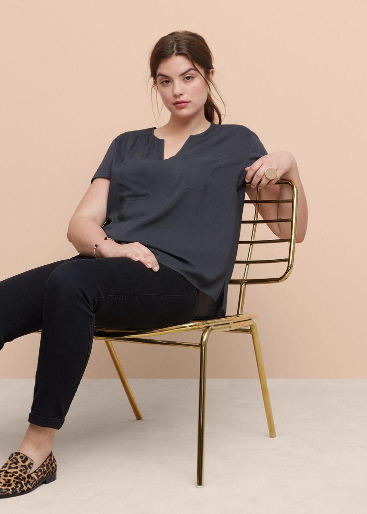 Струящаяся блузка с карманами -  Большие размеры | Violeta by MANGO Виолетта бай…
