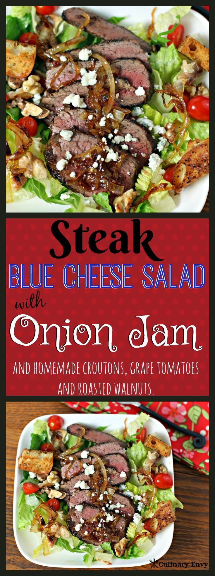 This Steak Blue Cheese Salad with Onion Jam is low calorie, low carb and ready in 30 minutes! The perfect main course any time of year! Click to read more!